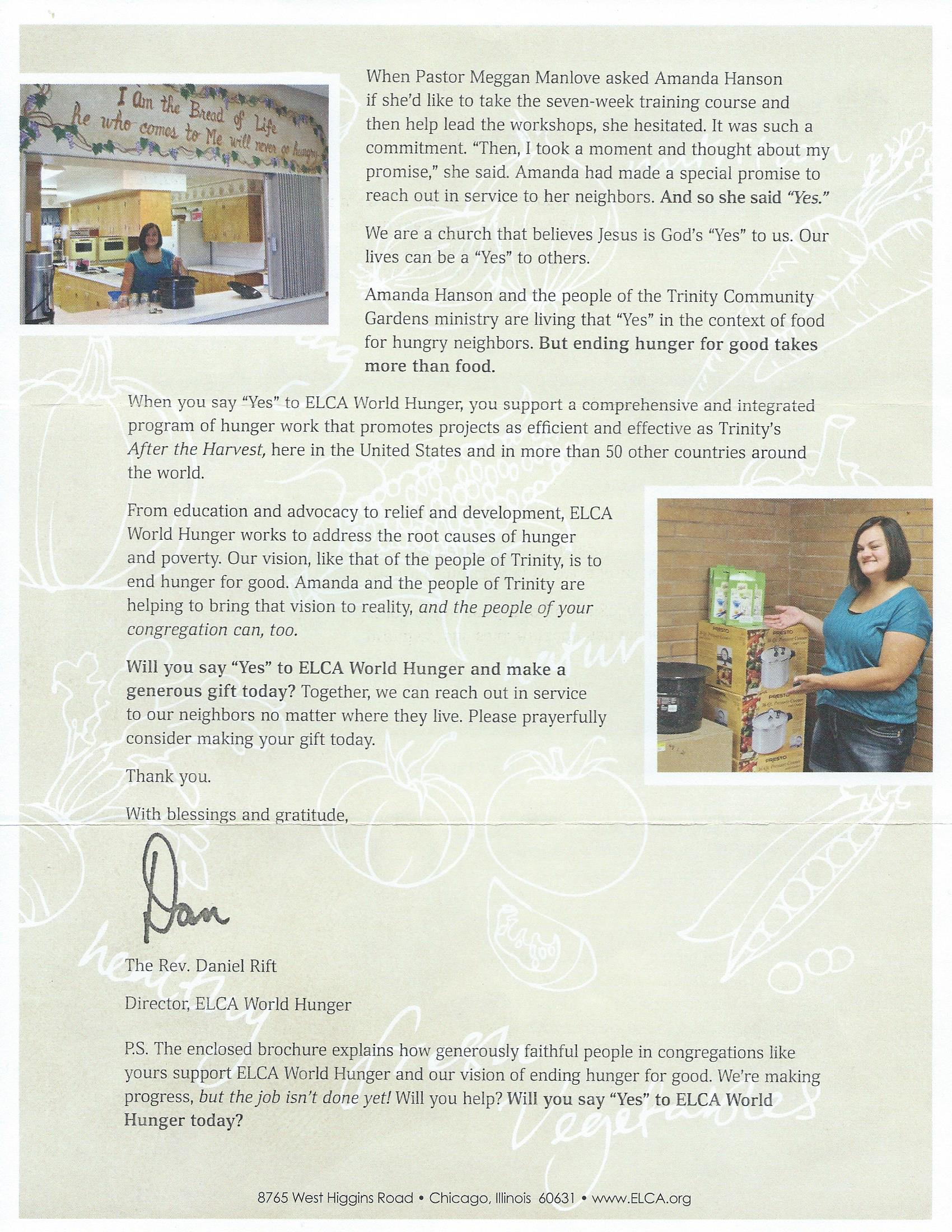 Elca World Hunger Appeal Letter  A Place At The Table